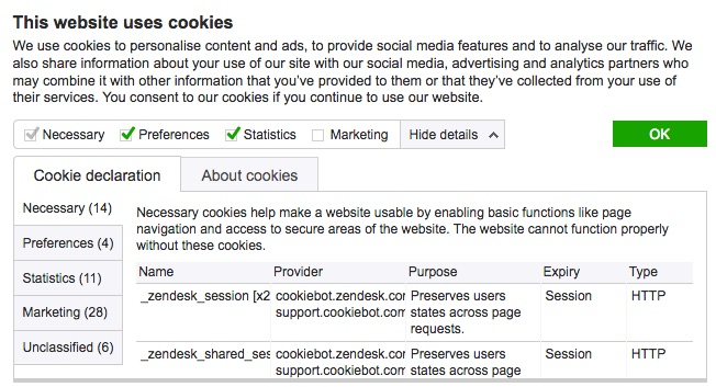 Okienko zgody na cookie zgodne z RODO